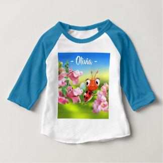 Baby T Ladybug friendly Snap Dragons 3/4 sleeve Baby T-Shirt
