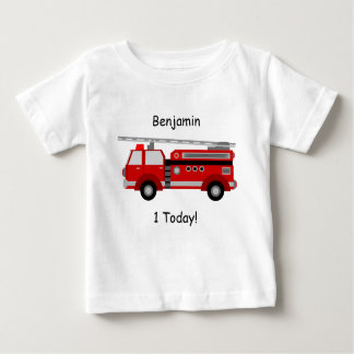 "Baby t-Shirt with Fire Truck, Name and ""1Today!"""