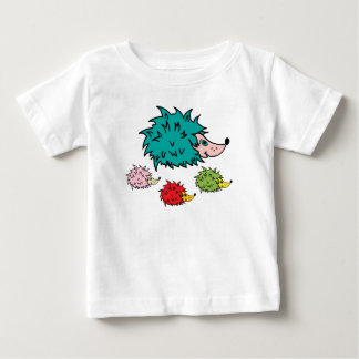 Baby T-Shirt with funny multicolor hedgehogs