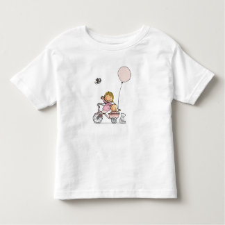 Baby t-shirt with little children on tricycle