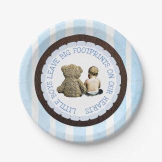 Baby & Teddy Bear Boy Baby Shower Paper Plates
