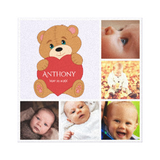 Baby teddy bear photo collage canvas print