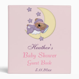 Baby Teddy Bear Sleeping on the Moon, Baby Shower 3 Ring Binder