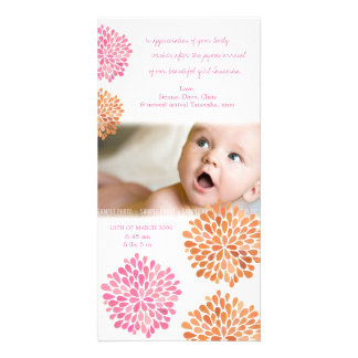 Baby Thank You Card Pink & Orange Flowers Photo Card Template