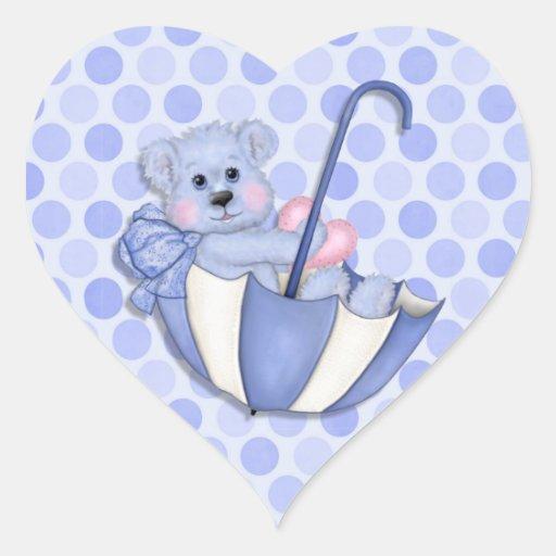 Baby  Theme Umbrella Bear Pink Polka Dots Heart Stickers