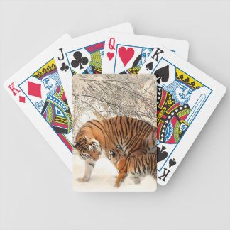 Baby tiger and Tiger mom in a snowy forest Bicycle Playing Cards