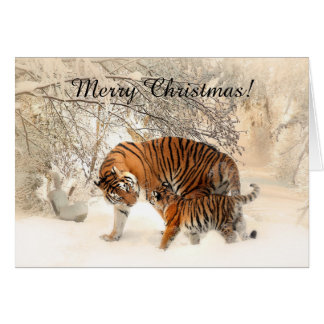 Baby tiger and Tiger mom in a snowy forest Card