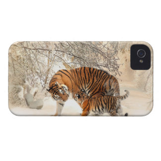 Baby tiger and Tiger mom in a snowy forest iPhone 4 Cases