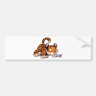 Baby Tiger with butterfly Bumper Sticker