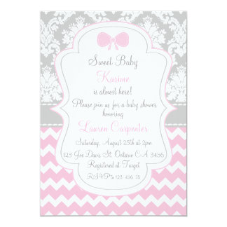 Baby to shower girl invitation pink chevron and co