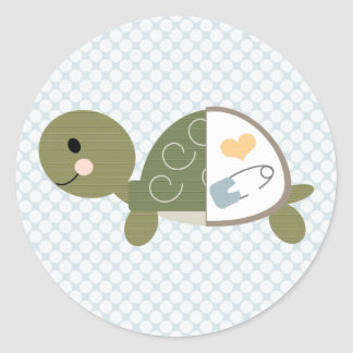 Baby Turtle Stickers Labels Blue Diaper Pin