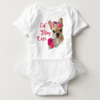 Baby TUTU bodysuit with cute french bulldog art
