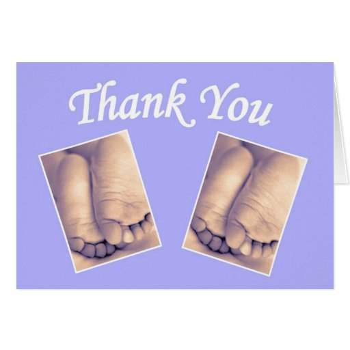 Baby twins little feet thank you blue greeting card