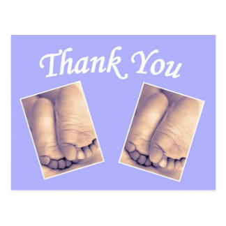 Baby twins little feet thank you blue postcard