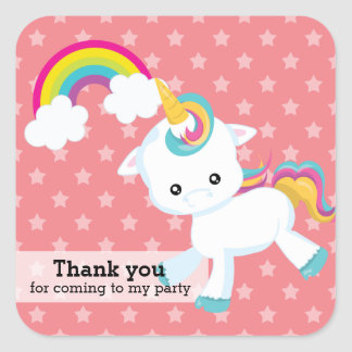 Baby Unicorn * Choose your background color Square Sticker