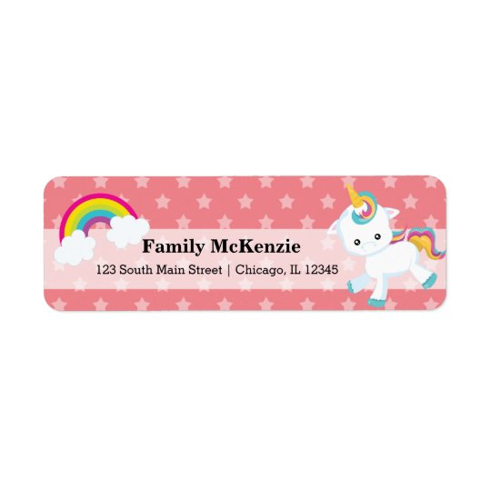 Baby Unicorn * CHOOSE your background colour Return Address Label