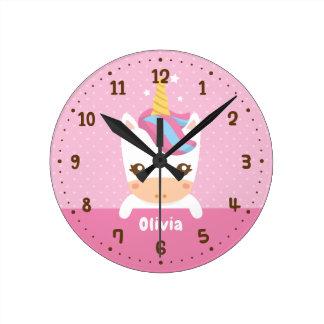 Baby Unicorn Girls Room Decor Personalized Clock