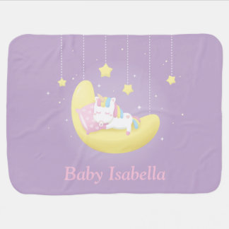 Baby Unicorn on Moon Girl Personalized Blanket Baby Blankets