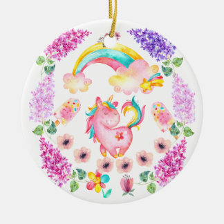 Baby unicorn playing in her garden Multi products Ceramic Ornament