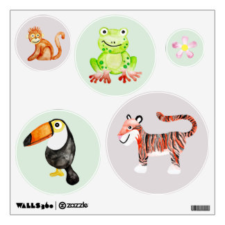 Baby Unisex Watercolor Jungle Animals Nursery Art Wall Decal