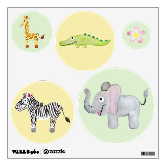 Baby Unisex Watercolor Jungle Safari Nursery Art Wall Sticker