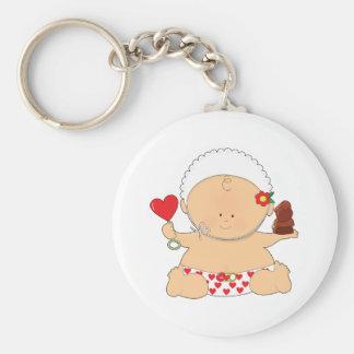 Baby Valentines Basic Round Button Keychain