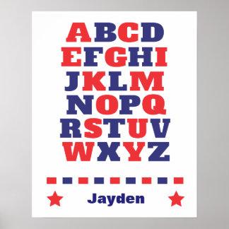 Baby visual alphabet red dark blue abc poster