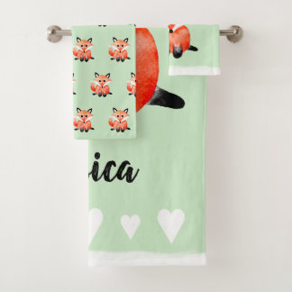 Baby Watercolor Woodland Forest Fox with Name Bath Towel Set