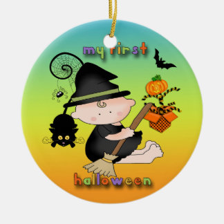 Baby Witch My 1st Halloween Round Ornament