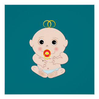 Baby with pacifier cartoon perfect poster