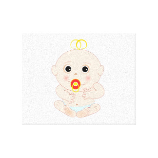 Baby with pacifier cartoon stretched canvas prints