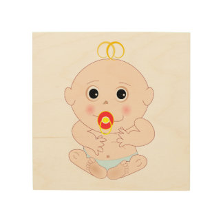Baby with pacifier cartoon wood prints