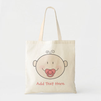 Baby with pink pacifier tote bag