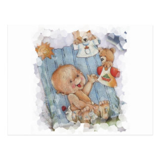 Baby with toys postcard