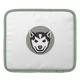 Baby Wolf Cub Head Circle Retro Sleeve For iPads