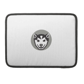 Baby Wolf Cub Head Circle Retro Sleeves For MacBook Pro