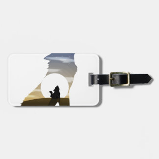 Baby wolf moon luggage tag