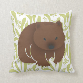 Baby Wombat on Olive Throw Pillow