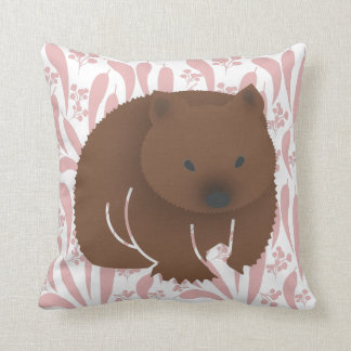 Baby Wombat on Pink Throw Pillow