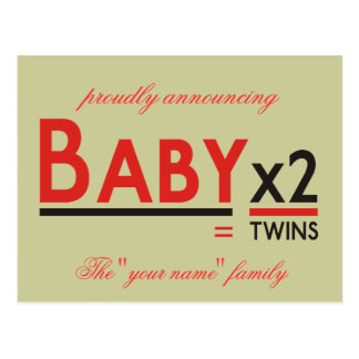 "Baby x 2, proudly announcing, The ""your name"" f... Postcard"
