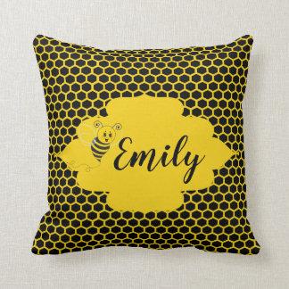 Baby Yellow Black Bumble Bee Honeycomb Honey Throw Pillow