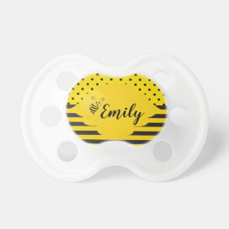Baby Yellow Black Bumble Bee Striped Polka Dot Pacifier