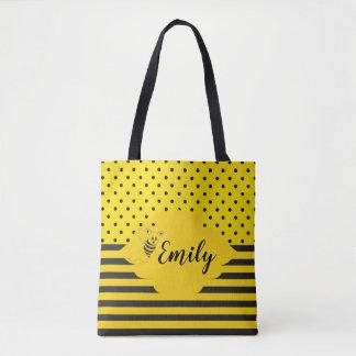 Baby Yellow Black Bumble Bee Striped Polka Dot Tote Bag