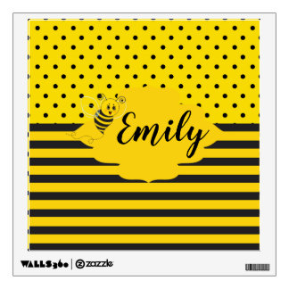 Baby Yellow Black Bumble Bee Striped Polka Dot Wall Decal