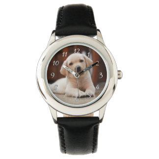 Baby Yellow Labrador Puppy Dog laying on Belly Wristwatches