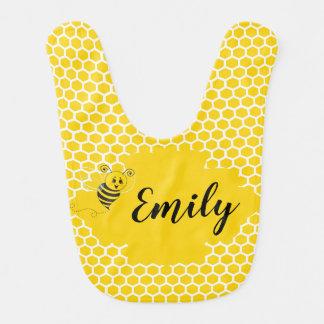 Baby Yellow White Bumble Bee Honeycomb Honey Bib