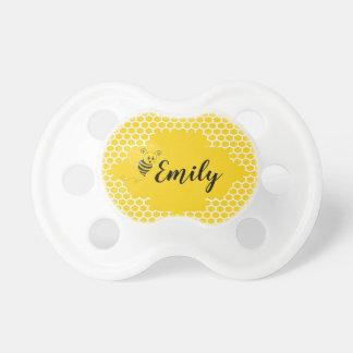 Baby Yellow White Bumble Bee Honeycomb Honey Pacifier
