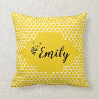 Baby Yellow White Bumble Bee Honeycomb Honey Throw Pillow