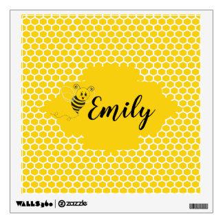 Baby Yellow White Bumble Bee Honeycomb Honey Wall Sticker