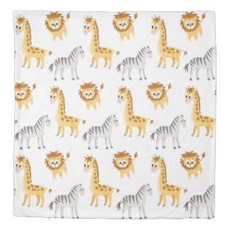 Baby Zebra, Giraffe and Lion Cub Duvet Cover